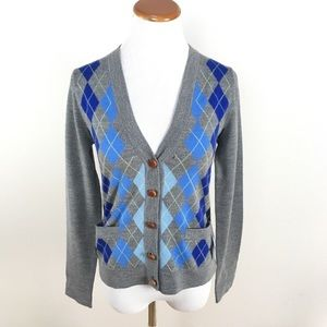 J.Crew Merino Wool Argyle Cardigan Sweater